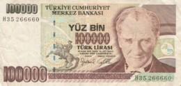 BANCONOTA TURCHIA 100000 LIRA VF (VX1583 - Turkije