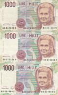LOTTO 3 BANCONOTE 1000 LIRE MONTESSORI (VX1585 - [ 2] 1946-… : Repubblica