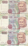 LOTTO 3 BANCONOTE 1000 LIRE MONTESSORI (VX1585 - [ 2] 1946-… : Républic