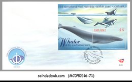 SOUTH AFRICA - 1998 WHALES OF THE SOUTHERN OCEANS / FISH - MIN/SHT FDC - FDC