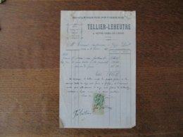 NOTRE-DAME- DE- LIESSE TELLIER-LEHEUTRE BOULANGERIE-PATISSERIE FACTURE DU 4 FEVRIER 1922 - Frankreich