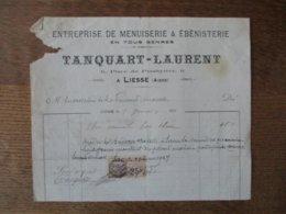 LIESSE TANQUART-LAURENT ENTREPRISE DE MENUISERIE & EBENISTERIE 6 PLACE DU PRESBYTERE FACTURE DU 7 JANVIER 1924 - Frankreich