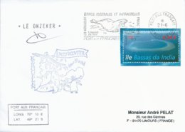 TAAF - Port Aux Français - Kerguelen: Lettre Avec Timbre N°475 Atoll Bassas Da India + OMEC SECAP Du 21/06/2009 - Covers & Documents