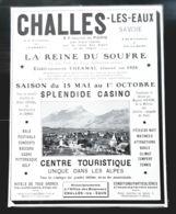 1928 CHALES LES EAUX LA REINE DU SOUFFRE EAU SULFUREUSE CASINO DUFRENE ATTRACTIONS HOTEL THERMAL PUB 73 THERMES - Reclame