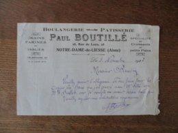 NOTRE-DAME DE LIESSE PAUL BOUTILLE BOULANGERIE-PATISSERIE 28 RUE DE LAON FACTURE DU 5 NOVEMBRE 1927 - Frankreich