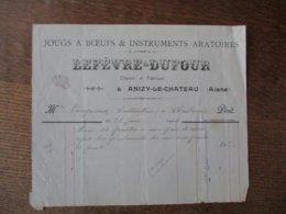 ANIZY LE CHATEAU LEFEVRE-DUFOUR CHARRON ET FABRICANT JOUGS A BOEUFS &INSTRUMENTS ARATOIRES FACTURE 23 JUIN 1914 - France