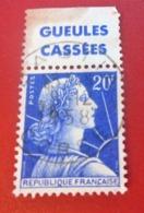 1011b Timbre Publicité Marianne De Muller Type II Avec Bande Publicitaire Gueules Cassées Typographié Europe  France - Publicidad