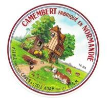 ETIQUETTE De FROMAGE..CAMEMBERT Fabriqué En NORMANDIE ( Calvados 14)..Affiné Dans Les Caves à L'ISLE ADAM - Quesos