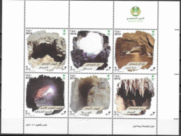 SAUDI ARABIA, 2019, MNH, CAVES, SHEETLET OF 6v - Geology