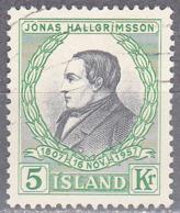 ICELAND    SCOTT NO 308    USED    YEAR  1957 - Usati