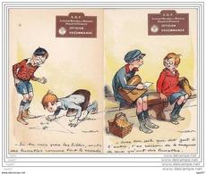 Lot De 2 Cpa Rare -Etat Luxe  Réf  Z.0103  Poulbot Avec PUB   Syndicat  National  Des MEDECINS - Publicidad