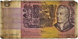 Australia - 5 Dollars - ND ( 1985 ) - Pick 44.e - Serie QBN - Sign. R. A. Johnston + B. W. Fraser - Emisiones Gubernamentales Decimales 1966-...