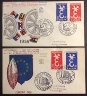 164- Europa 1173 1174 Conseil De L'Europe Strasbourg Et Exposition Philatélique Paris FDC PJ 13/9/1958 Lot 2 Lettre - FDC