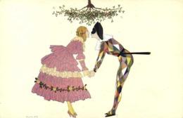 Illustrateur Signé Fabius Lorenzi Christmas Box Pierrot Et Sa Colombine Sous Le Gui Colorisée RV - Couples