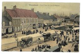 59 WORMHOUT GRAND PLACE UN JOUR DE MARCHE CPA 2 SCANS - Wormhout
