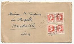 ALGERIE MARIANNE ALGER 50CX4 LETTRE ALGER 23.8.1945 + ANNULATION EN ARRIVEE HAUTEVILLE LOMPNES - Lettres & Documents