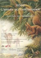 BUZIN / 2002 - ANNEE DU CHATAIGNIER - DIPLOME DE PARRAINAGE / FORMAT A4 / QUELQUES TRES LEGERES TRACES DE MANIPULATION - 1985-.. Birds (Buzin)