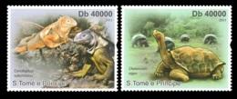 Sao Tome Turtles Fauna Turtle Chameleon 2v Set Michel:4836-4837 - Celebrità