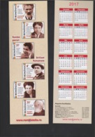 2017 - ROMANIAN Small Calendar Romfilatelia-stamp Issue -Brilliant Romanians ( 6x 19 Cm) - - Calendriers