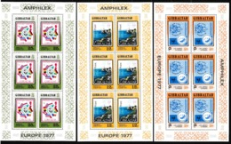 1977 Gibilterra Gibraltar EUROPA CEPT EUROPE 6 Serie Di 3v. MNH** In Minifoglio 3 Minisheets - Europa-CEPT