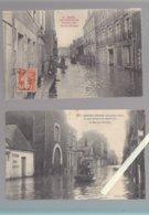 Nantes / Lot De 2 CP / La Rue Des Olivettes, Pendant Les Inondations De 1910, Docks De L'ouest - Nantes