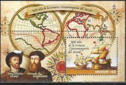 URUGUAY, 2019, MNH, EXPLORERS, MAGELLAN, 500 YEARS SINCE FIRST CIRCUMNAVIGATION OF THE WORLD, SHIPS, S/SHEET - Explorers
