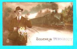 CPA Souvenir De TURNHOUT ( Train ) :  Circulée En 1919 - N° 156 P.R. Paris - 2 Scans - Turnhout