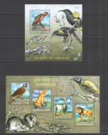 CA505 2014 CENTRAL AFRICA CENTRAFRICAINE FAUNA ENDANGERED SPECIES ESPECES DISPARUES KB+BL MNH - Vögel