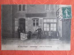 Senones . Cafe Du Faubourg . Publicitee Singer .  Rare  .   Cachet Inconnu A Senones  Les Facteurs Thomas Et Trouillot - Senones
