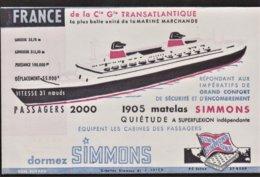 """Buvard - Publicité Matelas Simmons - J.Sorel - 29, Rue Leon Gambetta - Montivilliers - Illustration """" Le France """" - Andere"""