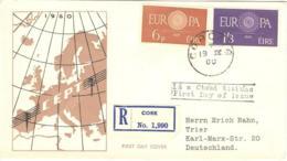 7289  Irlande, Env. 1er Jour Europa CEPT 1960, Recomandée - Europe Registered FDC From Ireland - Europa-CEPT