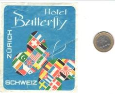 ETIQUETA DE HOTEL  - HOTEL BUTTERFLY  -ZÜRICH  -SUIZA - Etiquetas De Hotel