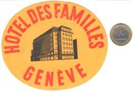 ETIQUETA DE HOTEL  - HOTEL DES FAMILLES  -GENEVE  -SUIZA - Etiquetas De Hotel