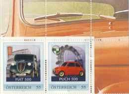 "6189  Austria: Fiat 500 ""Topolino"" - 2 Personalized Car-Stamps From An Austrian Prestige Booklet / Carnet. Colosseo Roma - Automobili"