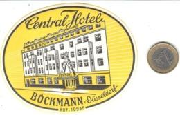 ETIQUETA DE HOTEL  - CENTRAL HOTEL -BÖCKMANN  -DÜSSELDORF - Etiquetas De Hotel