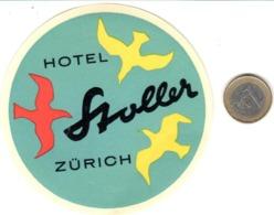 ETIQUETA DE HOTEL  - HOTEL STOLLER  -ZÜRICH  -SUIZA - Hotel Labels