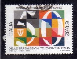 ITALIA REPUBBLICA ITALY REPUBLIC 2004 TRASMISSIONI TELEVISIVE RAI € 0,62 USATO USED OBLITERE' - 2001-10: Usados