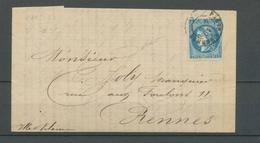 1871 Lettre De VITRE Bordeaux 20c Bleu T.3 Obl Càd Amb Paris à Rennes, Rare X4755 - Poststempel (Briefe)