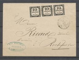 1862 Env. Taxe 10c Typo X3, Obl Càd Rochefort-sur-mer, C 22, Rare, SUP X4790 - Lettres Taxées