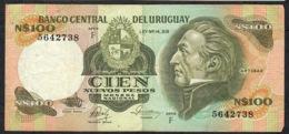 URUGUAY P62c 100 N.P. (1986) Serie F Signature 19a VF NO P.h. - Uruguay