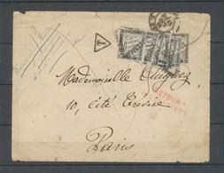 1884 Env. Tentative De Franchise Du Conservatoire De Musique, Taxée à 1f80 X4805 - Postmark Collection (Covers)