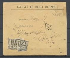 1892 Env. Tentative De Franchise De La Faculté De Droit, Taxée à 1f80, SUP X4806 - Marcophilie (Lettres)