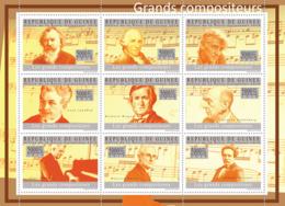 Guinea 2010 MNH - The Great Composers I, (J.Brahams.. Johnn Strauss). YT 4822-4830, Mi 7219-7227 - Guinea (1958-...)