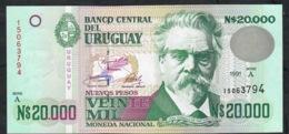 URUGUAY P69 20.000 NUEVOS  PESOS  1991 Serie A UNC. - Uruguay