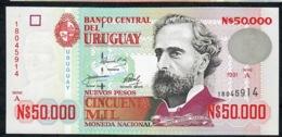 URUGUAY P70 50.000 NUEVOS  PESOS  1991 Serie A UNC. - Uruguay