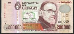 URUGUAY P72 200.000 NUEVOS PESOS 1992 Serie A      UNC. - Uruguay