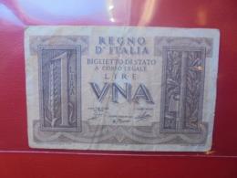 ITALIE 1 LIRE 1939 CIRCULER - Italia – 1 Lira