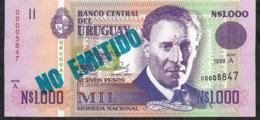 URUGUAY P67A 1000  NUEVOS PESOS 1989 Serie A   LOW # 00005847   UNC. - Uruguay