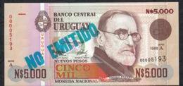 URUGUAY P68A 5000 NUEVOS PESOS 1989 Serie A LOW # 00005193 UNC. - Uruguay