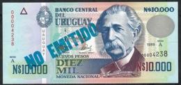 URUGUAY P68A 10.000 NUEVOS PESOS 1989 Serie A LOW # 00004238  UNC. - Uruguay